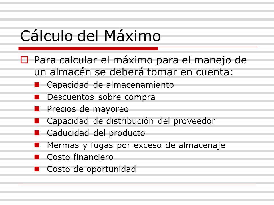 Cálculo del Máximo Para calcular el máximo para el manejo de un almacén se deberá tomar en cuenta: Capacidad de almacenamiento Descuentos sobre compra