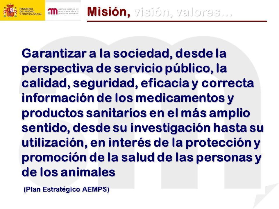Garantizar a la sociedad, desde la perspectiva de servicio público, la calidad, seguridad, eficacia y correcta información de los medicamentos y produ