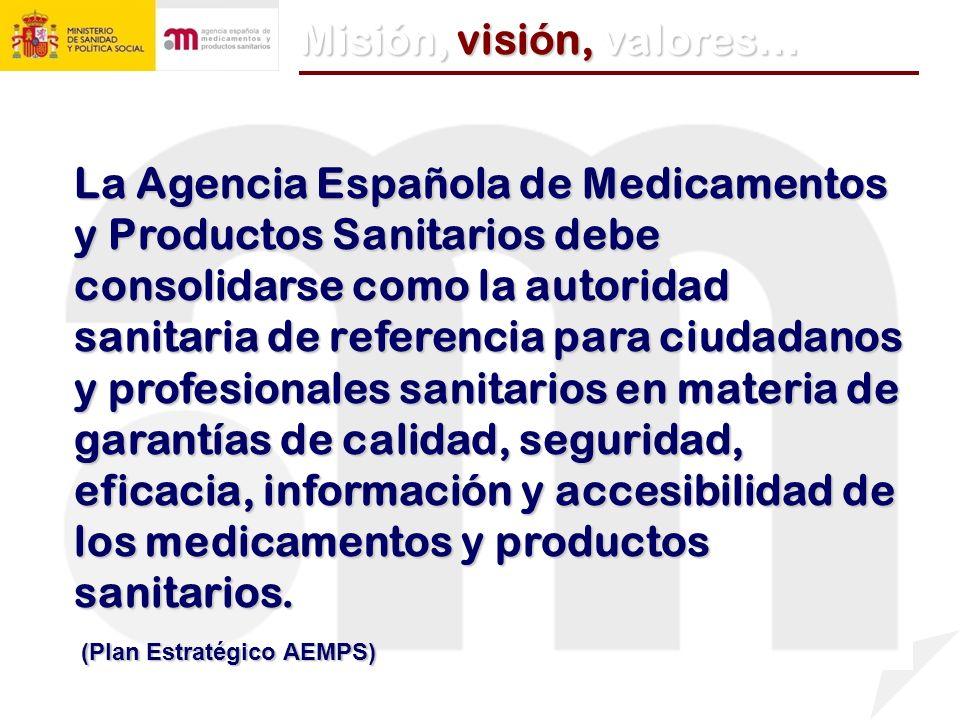 La Agencia Española de Medicamentos y Productos Sanitarios debe consolidarse como la autoridad sanitaria de referencia para ciudadanos y profesionales sanitarios en materia de garantías de calidad, seguridad, eficacia, información y accesibilidad de los medicamentos y productos sanitarios.
