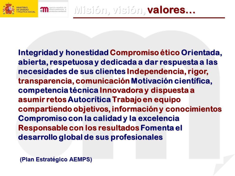 (Plan Estratégico AEMPS) Misi ó n, visi ó n, valores … Integridad y honestidad Compromiso ético Orientada, abierta, respetuosa y dedicada a dar respue