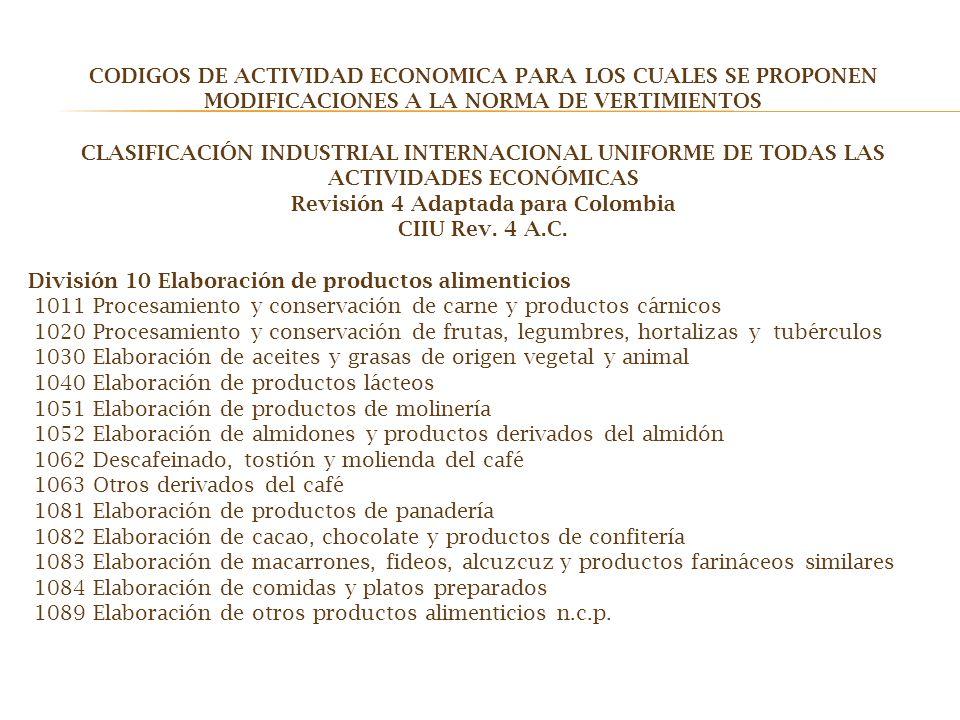 CODIGOS DE ACTIVIDAD ECONOMICA PARA LOS CUALES SE PROPONEN MODIFICACIONES A LA NORMA DE VERTIMIENTOS CLASIFICACIÓN INDUSTRIAL INTERNACIONAL UNIFORME D
