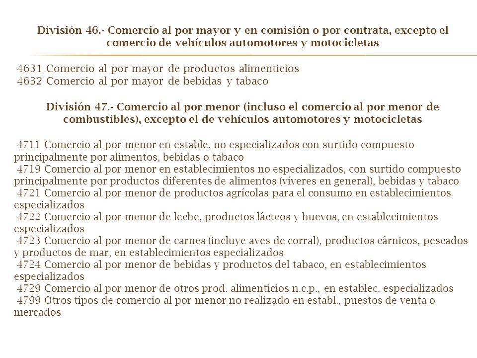 División 46.- Comercio al por mayor y en comisión o por contrata, excepto el comercio de vehículos automotores y motocicletas 4631 Comercio al por may