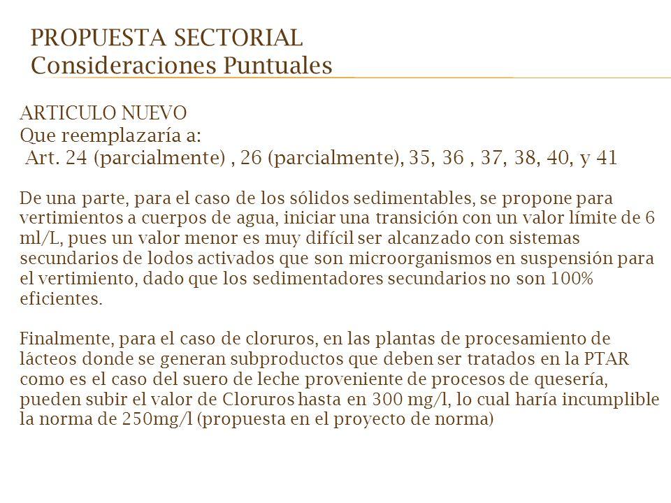 ARTICULO NUEVO Que reemplazaría a: Art. 24 (parcialmente), 26 (parcialmente), 35, 36, 37, 38, 40, y 41 De una parte, para el caso de los sólidos sedim