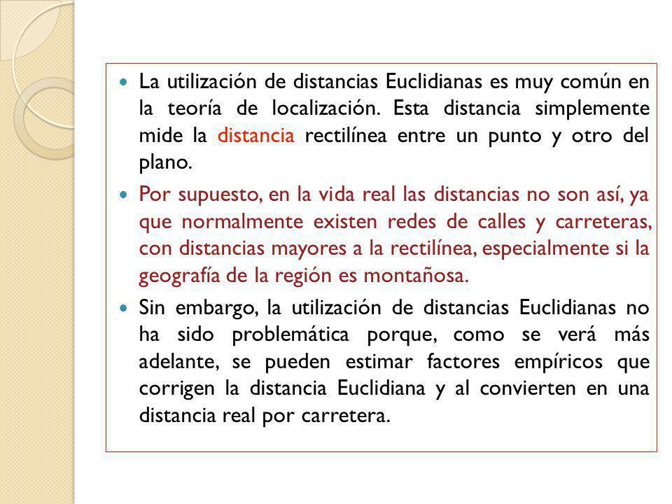La utilización de distancias Euclidianas es muy común en la teoría de localización. Esta distancia simplemente mide la distancia rectilínea entre un p