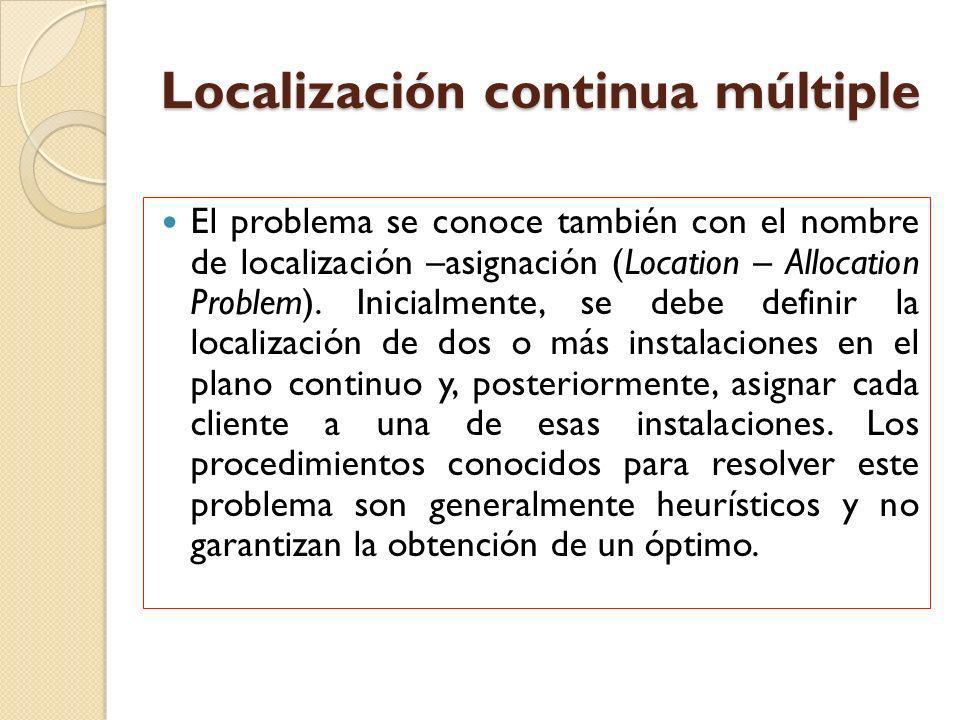 Localización continua múltiple El problema se conoce también con el nombre de localización –asignación (Location – Allocation Problem). Inicialmente,