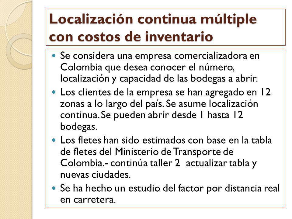Localización continua múltiple con costos de inventario Se considera una empresa comercializadora en Colombia que desea conocer el número, localizació