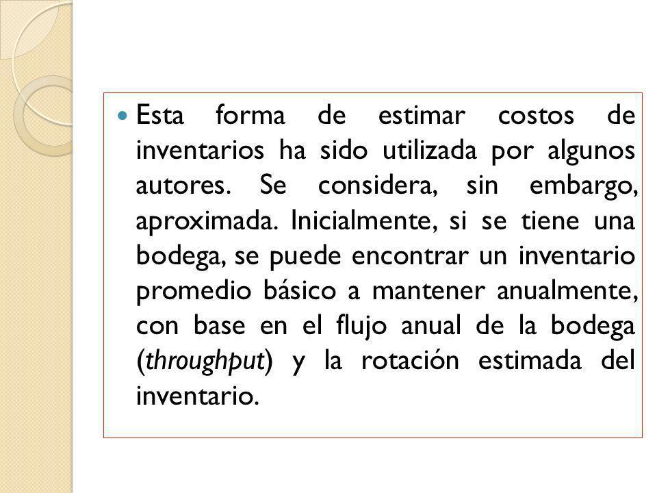 Esta forma de estimar costos de inventarios ha sido utilizada por algunos autores. Se considera, sin embargo, aproximada. Inicialmente, si se tiene un