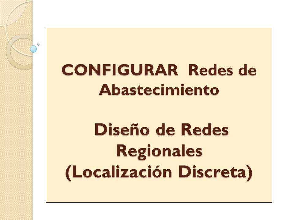 CONFIGURAR Redes de Abastecimiento Diseño de Redes Regionales (Localización Discreta) CONFIGURAR Redes de Abastecimiento Diseño de Redes Regionales (L
