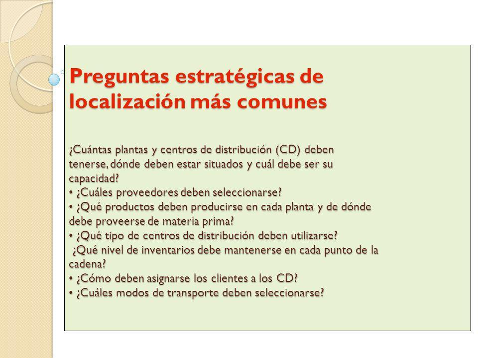 Preguntas estratégicas de localización más comunes ¿Cuántas plantas y centros de distribución (CD) deben tenerse, dónde deben estar situados y cuál de