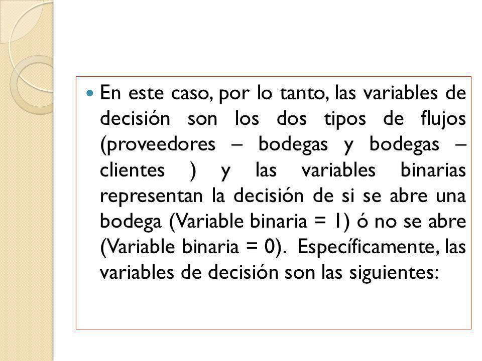 En este caso, por lo tanto, las variables de decisión son los dos tipos de flujos (proveedores – bodegas y bodegas – clientes ) y las variables binari