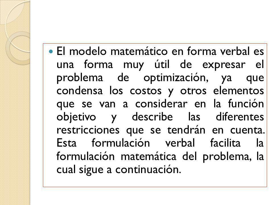 El modelo matemático en forma verbal es una forma muy útil de expresar el problema de optimización, ya que condensa los costos y otros elementos que s