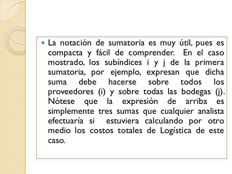 La notación de sumatoria es muy útil, pues es compacta y fácil de comprender. En el caso mostrado, los subíndices i y j de la primera sumatoria, por e
