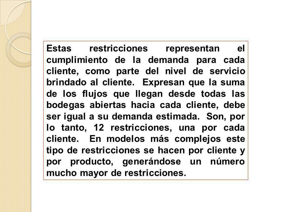 Estas restricciones representan el cumplimiento de la demanda para cada cliente, como parte del nivel de servicio brindado al cliente. Expresan que la