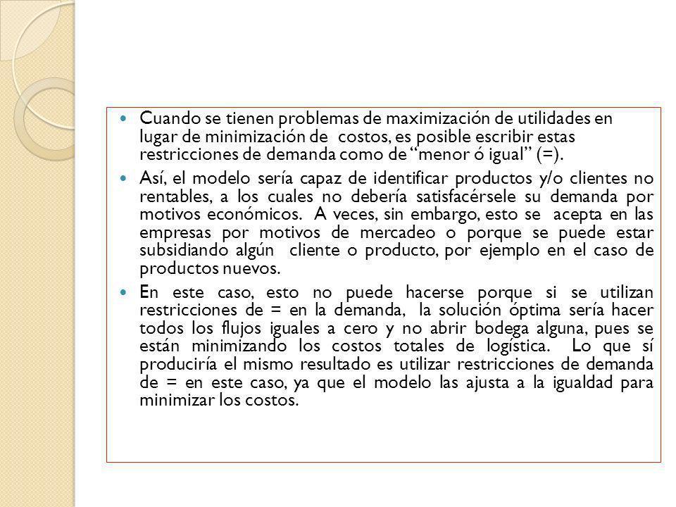 Cuando se tienen problemas de maximización de utilidades en lugar de minimización de costos, es posible escribir estas restricciones de demanda como d