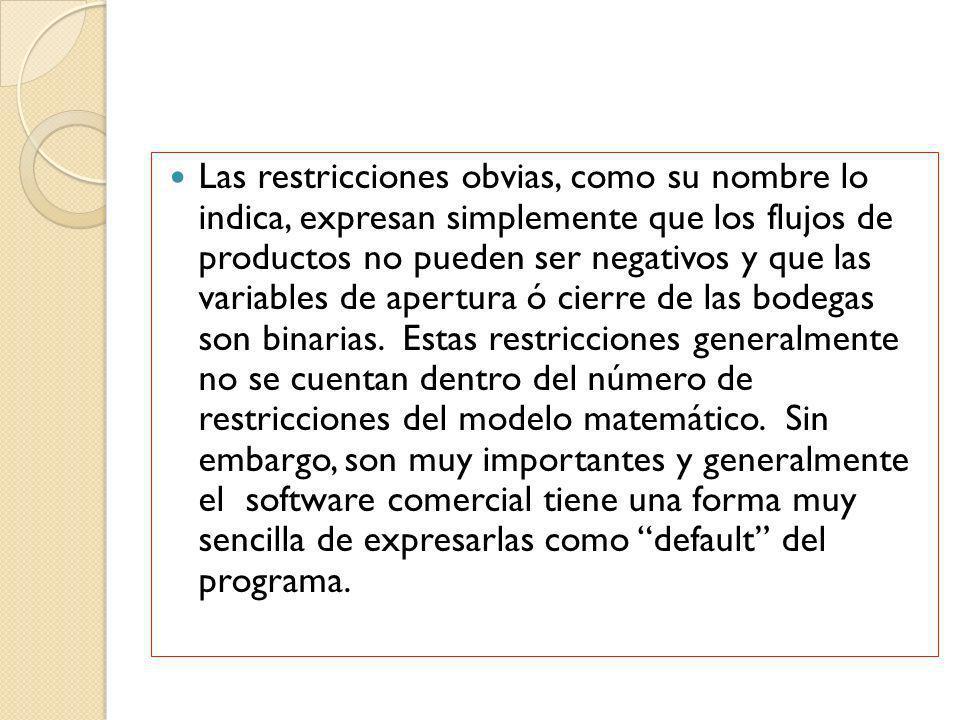 Las restricciones obvias, como su nombre lo indica, expresan simplemente que los flujos de productos no pueden ser negativos y que las variables de ap