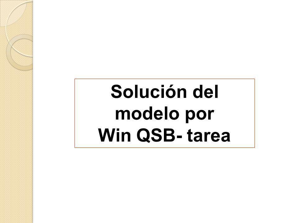 Solución del modelo por Win QSB- tarea
