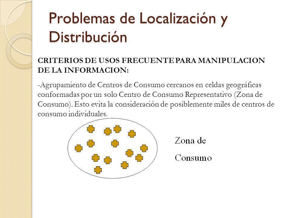 Problemas de Localización y Distribución CRITERIOS DE USOS FRECUENTE PARA MANIPULACION DE LA INFORMACION: -Agrupamiento de Centros de Consumo cercanos