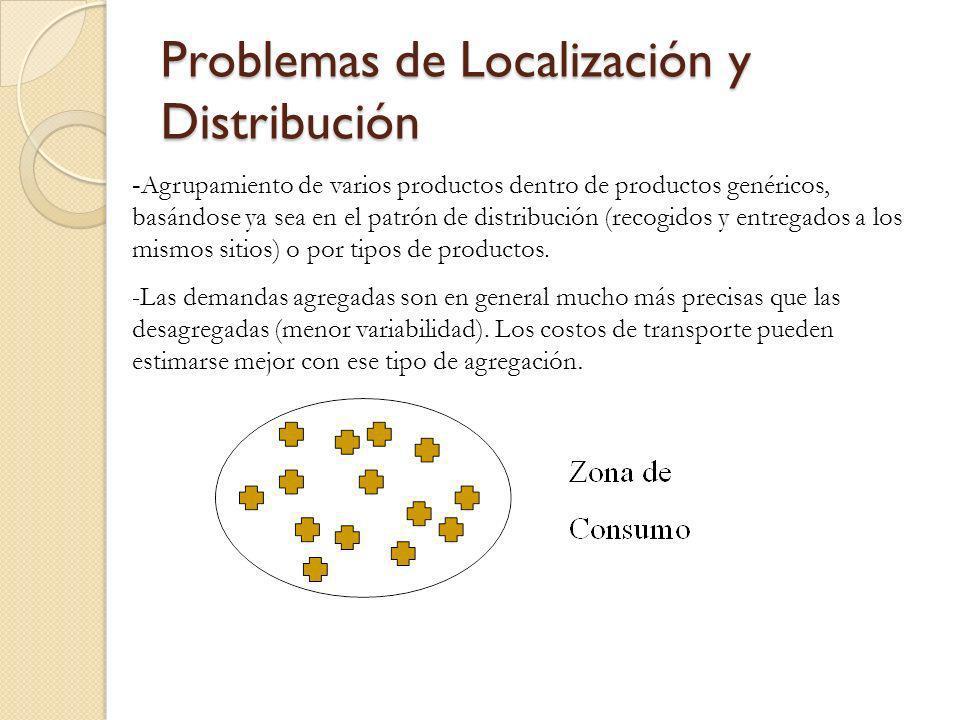 Problemas de Localización y Distribución - Agrupamiento de varios productos dentro de productos genéricos, basándose ya sea en el patrón de distribuci