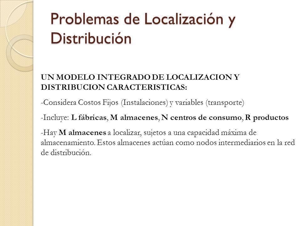 Problemas de Localización y Distribución UN MODELO INTEGRADO DE LOCALIZACION Y DISTRIBUCION CARACTERISTICAS: -Considera Costos Fijos (Instalaciones) y