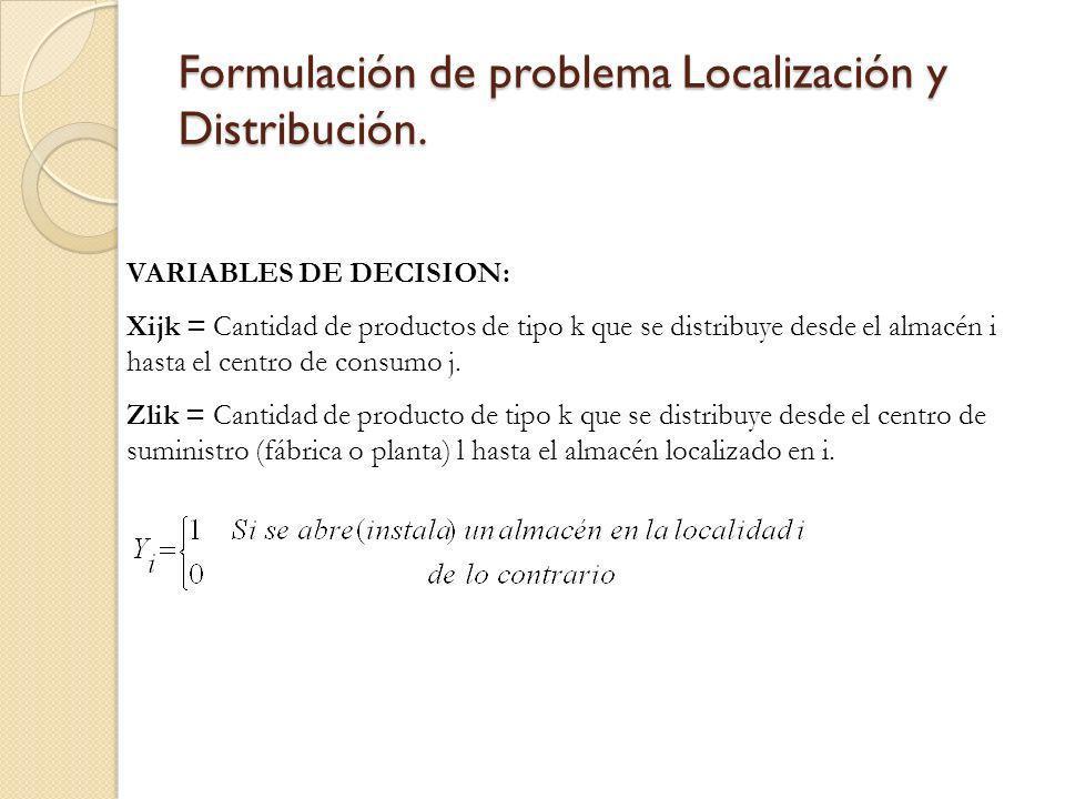 Formulación de problema Localización y Distribución. VARIABLES DE DECISION: Xijk = Cantidad de productos de tipo k que se distribuye desde el almacén