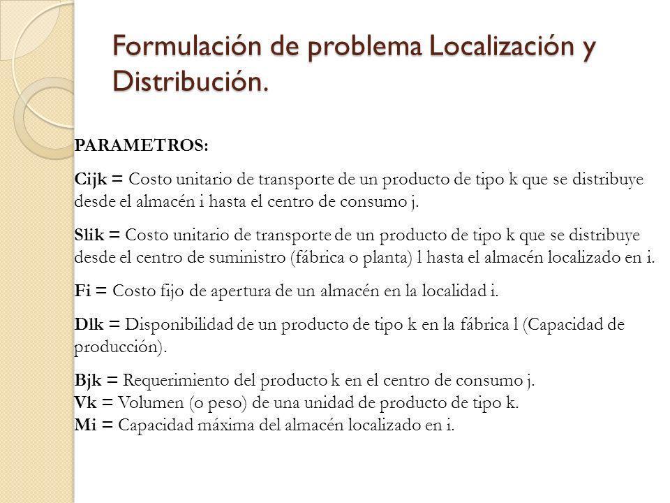 Formulación de problema Localización y Distribución. PARAMETROS: Cijk = Costo unitario de transporte de un producto de tipo k que se distribuye desde