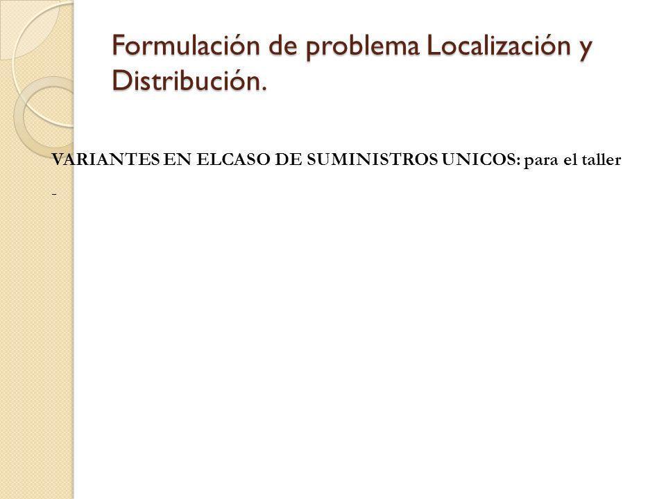 Formulación de problema Localización y Distribución. VARIANTES EN ELCASO DE SUMINISTROS UNICOS: para el taller -