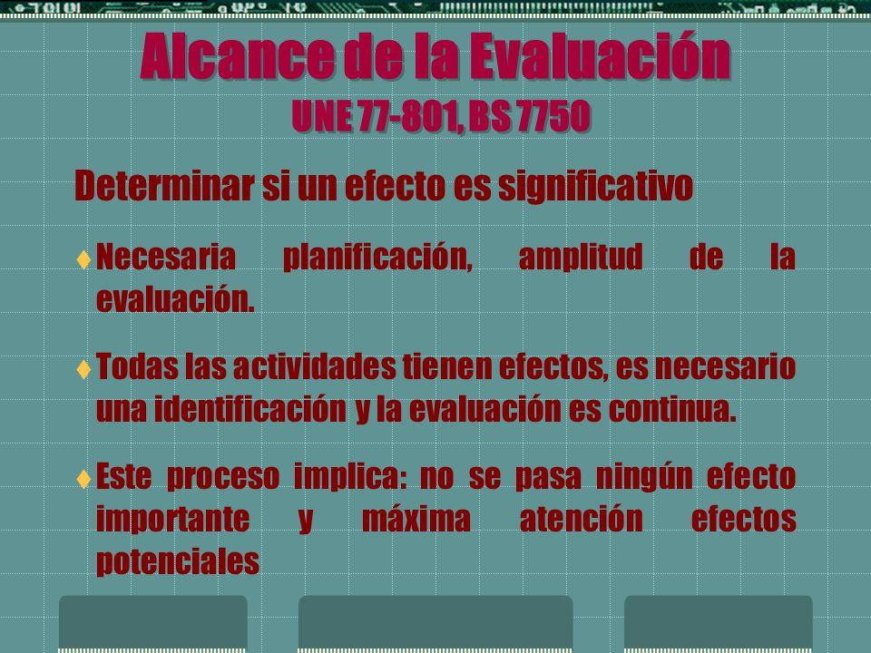 Alcance de la Evaluación UNE 77-801, BS 7750 Efectos indirectos derivados de compras, contrataciones, uso y almacenamiento.