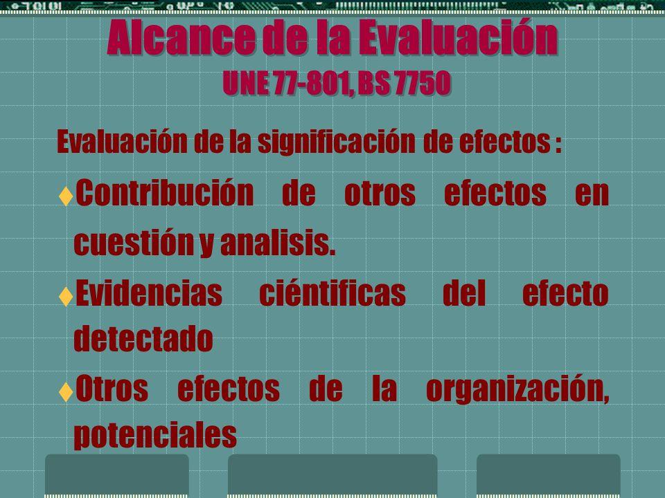 Alcance de la Evaluación UNE 77-801, BS 7750 Evaluación de la significación de efectos : Riesgos y consecuencias potenciales para el M.A.