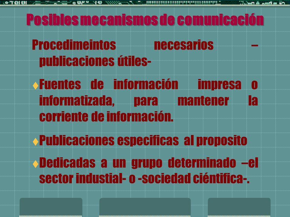 Posibles mecanismos de comunicación Registro de requesitos legales, reglamentarios y otros requisitos de la politica.