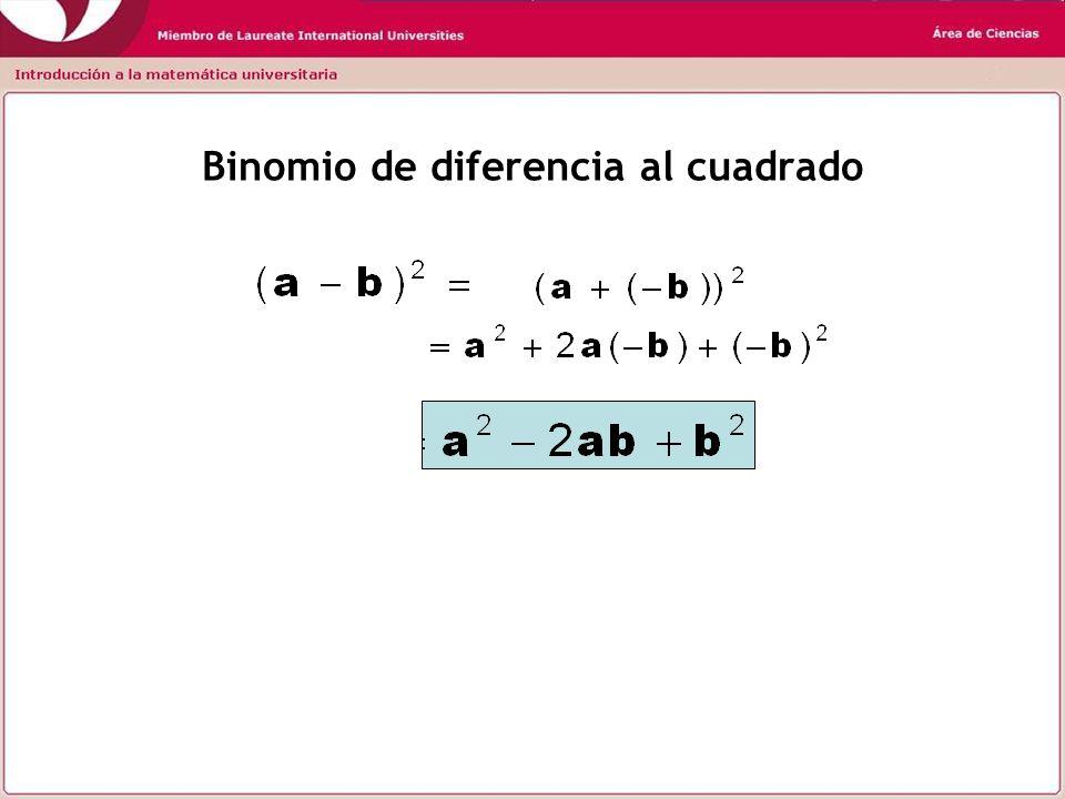 Producto de suma por diferencia Diferencia de cuadrados