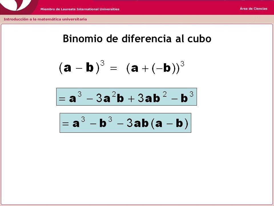 Resumen (a + b) 2 = a 2 + 2ab + b 2 (a - b) 2 = a 2 - 2ab + b 2 (a + b)(a – b) = a 2 – b 2 (a + b) 3 = a 3 + 3a 2 b + 3ab 2 + b 3 (a - b) 3 = a 3 - 3a 2 b + 3ab 2 - b 3