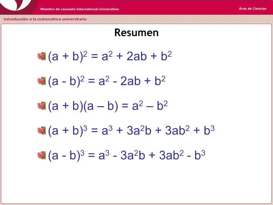 Volviendo a nuestro primer ejemplo: aplicaremos la tercera identidad (a + b)(a – b) = a 2 – b 2 Observe que así la solución del ejercicio se simplifica (1234568 + 1234567) (1234568 - 1234567) (2469135)(1) = 2469135