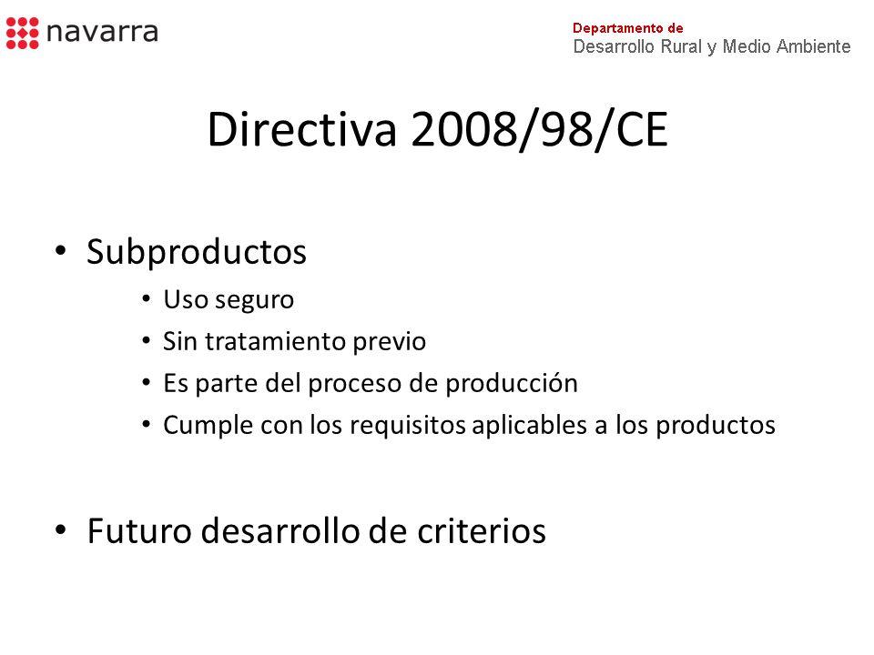 Directiva 2008/98/CE Fin de la condición de residuo – Residuos valorizados (incl.