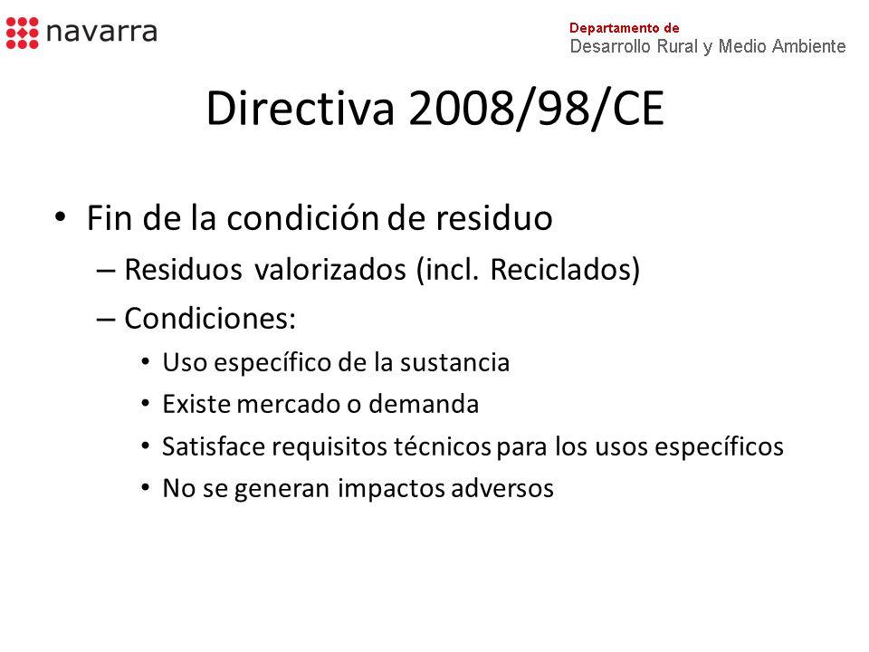 Directiva 2008/98/CE Responsabilidad ampliada del productor – Fin – mejora prevención, reciclaje y valorización – Afecta a desarrollo, producción, procesado, tratamiento, venta o importación de productos – Medidas: – Aceptación de productos devueltos y residuos – Responsabilidad financiera de la Gestión de los residuos – Incentivar el diseño de los productos con menor impacto ambiental