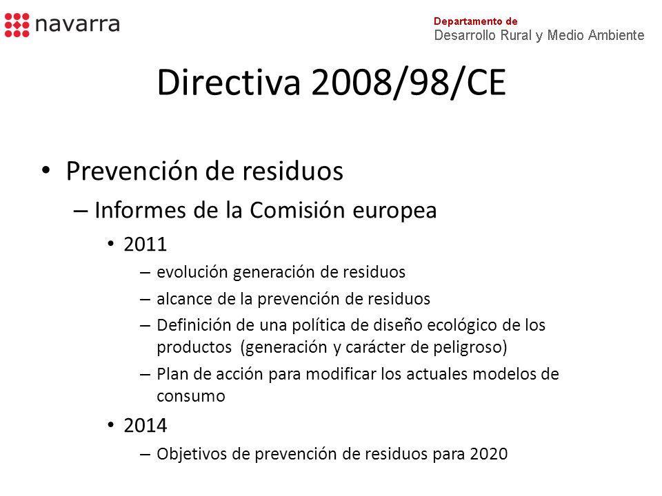 Directiva 2008/98/CE Reutilización y reciclado – Recogida separada de residuos factible y adecuada » Técnicamente » Económicamente » Medioambientalmente Calidad exigida por los sectores de reciclado Al menos – papel, vidrio, metales, plástico (1) Objetivos 2020 50% - Prep.