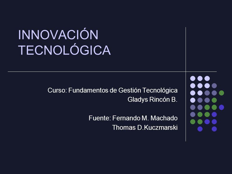 INNOVACIÓN TECNOLÓGICA Curso: Fundamentos de Gestión Tecnológica Gladys Rincón B.
