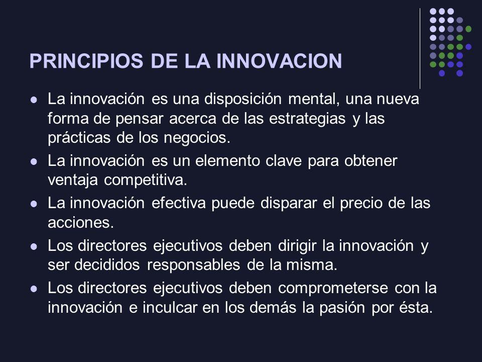 PRINCIPIOS DE LA INNOVACION La innovación es una disposición mental, una nueva forma de pensar acerca de las estrategias y las prácticas de los negocios.