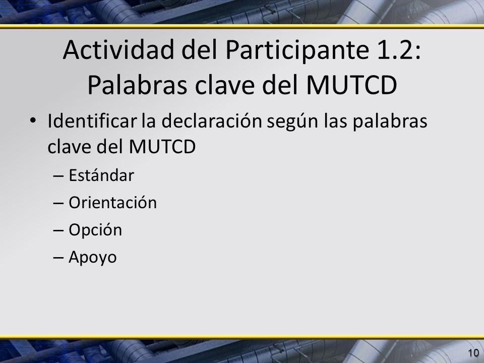 Actividad del Participante 1.2: Palabras clave del MUTCD Identificar la declaración según las palabras clave del MUTCD – Estándar – Orientación – Opci