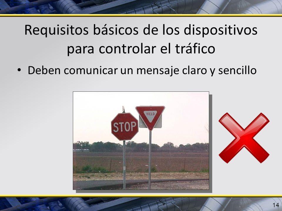Requisitos básicos de los dispositivos para controlar el tráfico Deben comunicar un mensaje claro y sencillo 14