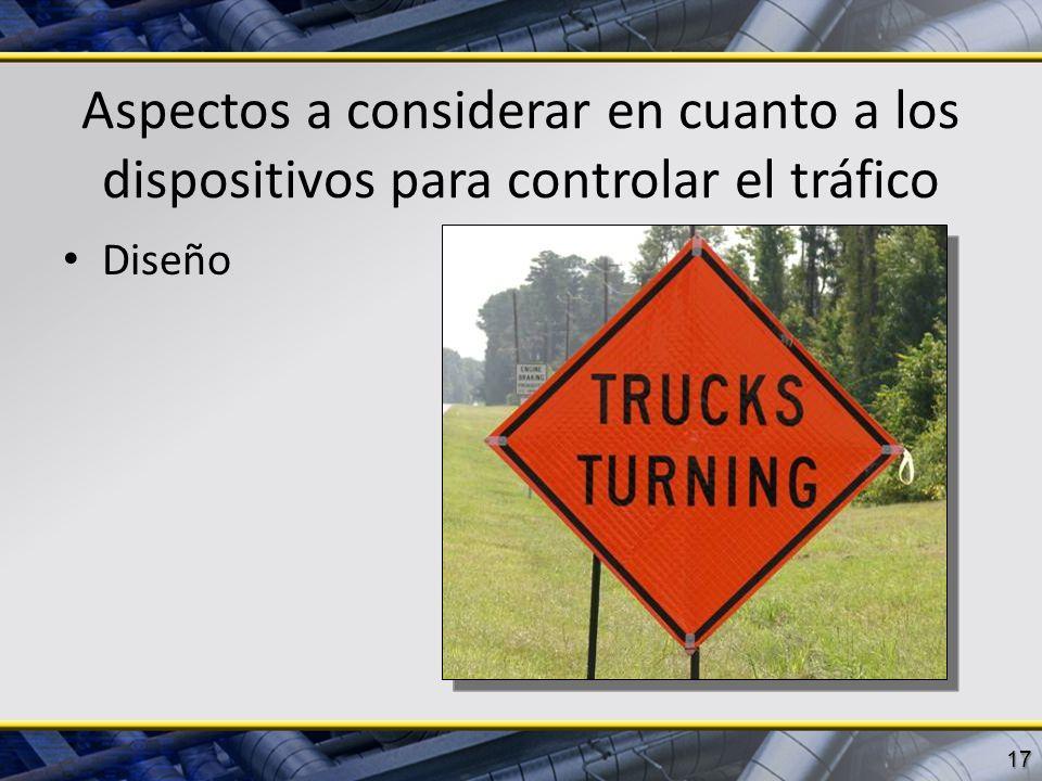 Aspectos a considerar en cuanto a los dispositivos para controlar el tráfico Diseño 17