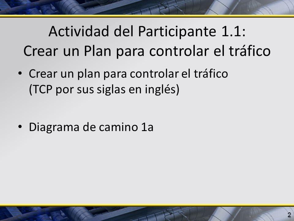 Actividad del Participante 1.1: Crear un Plan para controlar el tráfico Crear un plan para controlar el tráfico (TCP por sus siglas en inglés) Diagram