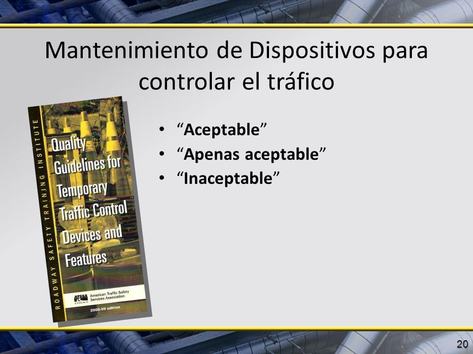 Mantenimiento de Dispositivos para controlar el tráfico Aceptable Apenas aceptable Inaceptable 20