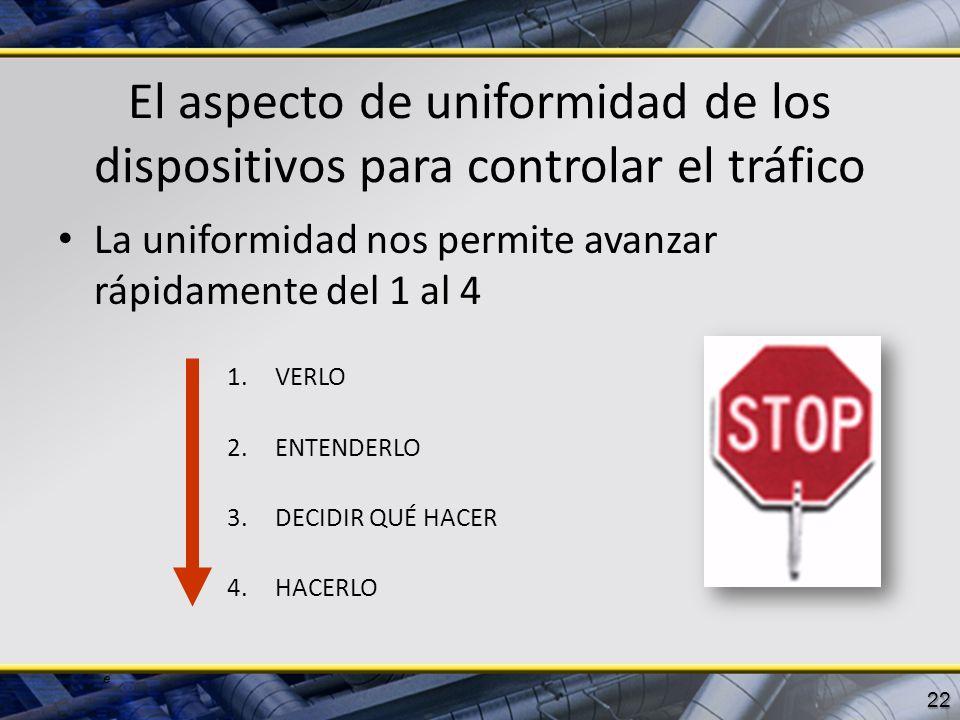 e El aspecto de uniformidad de los dispositivos para controlar el tráfico La uniformidad nos permite avanzar rápidamente del 1 al 4 1.VERLO 2.ENTENDER