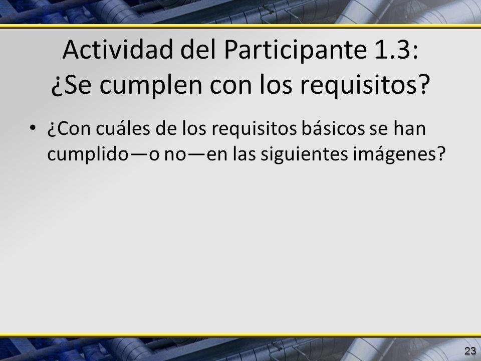 Actividad del Participante 1.3: ¿Se cumplen con los requisitos? ¿Con cuáles de los requisitos básicos se han cumplidoo noen las siguientes imágenes? 2