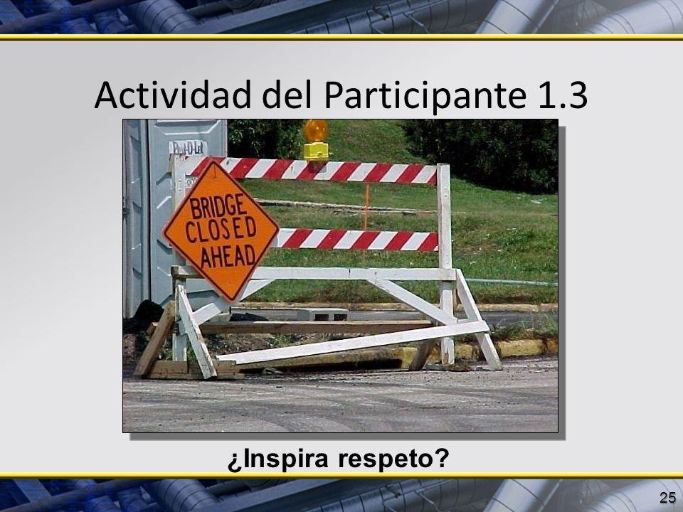 Actividad del Participante 1.3 25 ¿Inspira respeto?