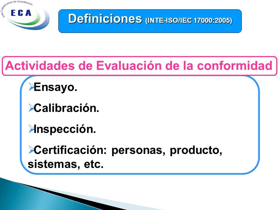 Ensayo. Calibración. Inspección. Certificación: personas, producto, sistemas, etc. Actividades de Evaluación de la conformidad