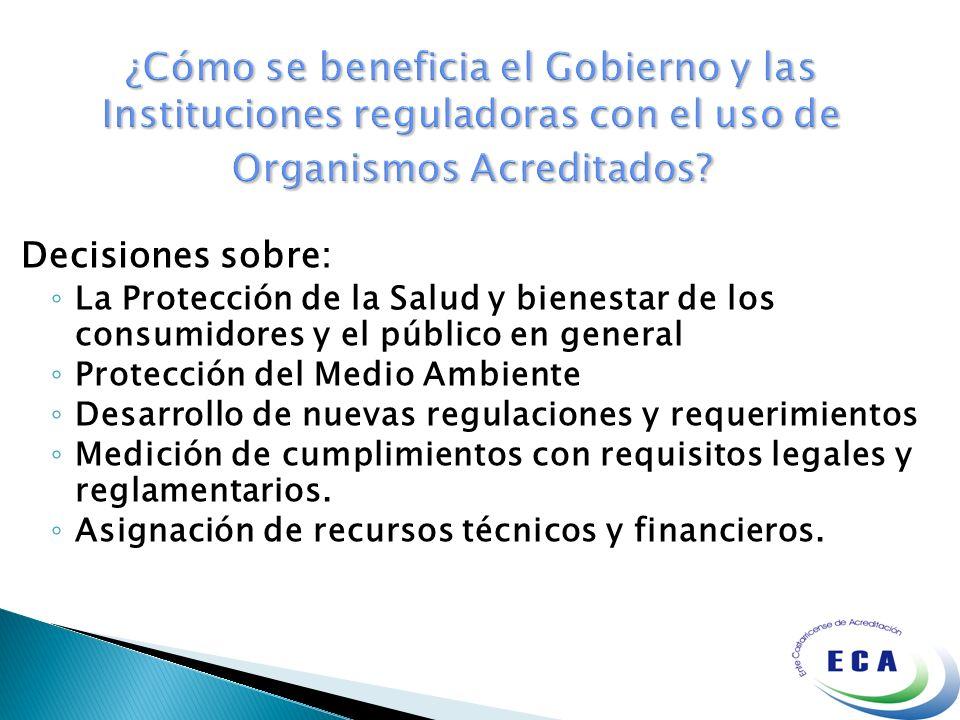 Decisiones sobre: La Protección de la Salud y bienestar de los consumidores y el público en general Protección del Medio Ambiente Desarrollo de nuevas
