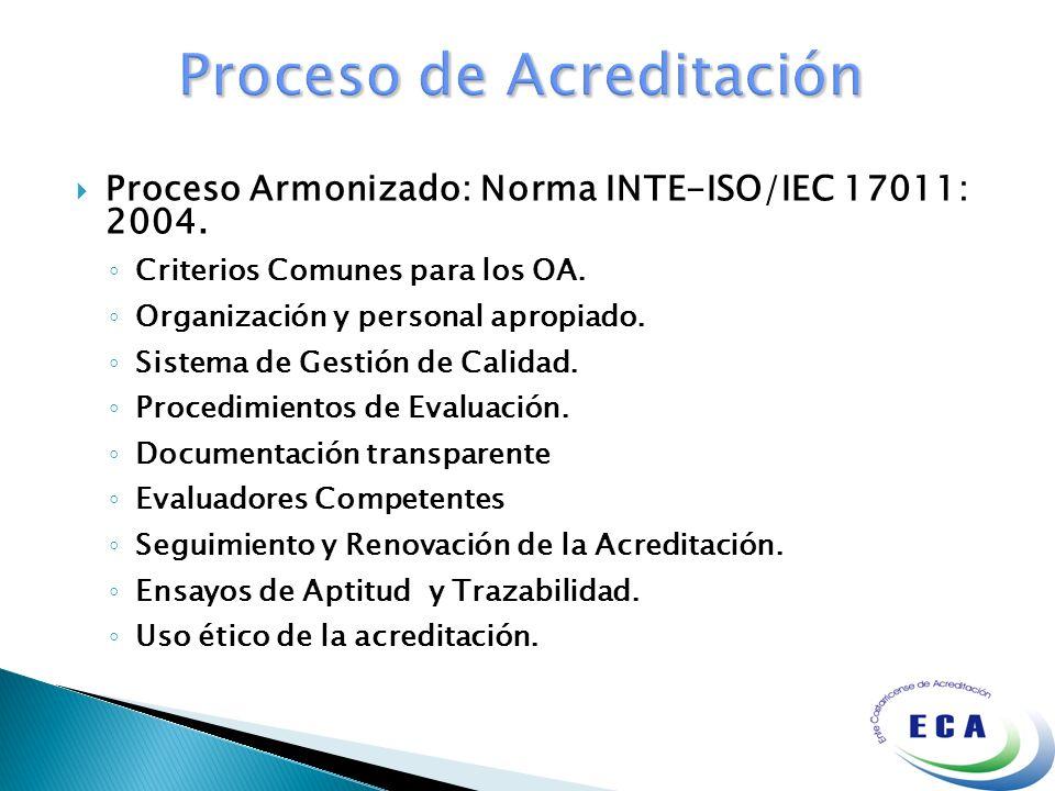 Proceso Armonizado: Norma INTE-ISO/IEC 17011: 2004. Criterios Comunes para los OA. Organización y personal apropiado. Sistema de Gestión de Calidad. P
