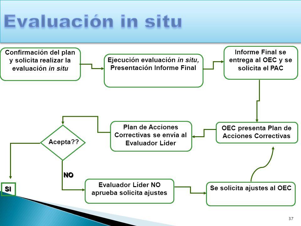 37 Confirmación del plan y solicita realizar la evaluación in situ Ejecución evaluación in situ, Presentación Informe Final Informe Final se entrega a
