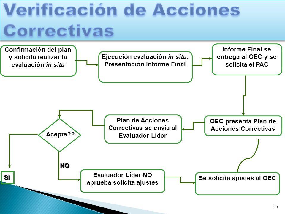 38 Confirmación del plan y solicita realizar la evaluación in situ Ejecución evaluación in situ, Presentación Informe Final Informe Final se entrega a
